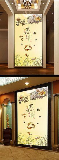 彩雕牡丹花玄关壁画