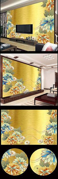 精美花朵现代简约电视背景墙