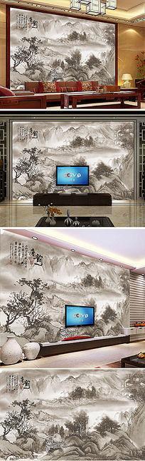 山水水墨画客厅电视背景墙
