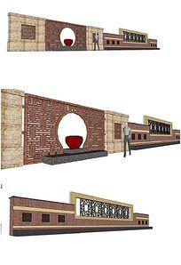现代时代大气景墙SU模型