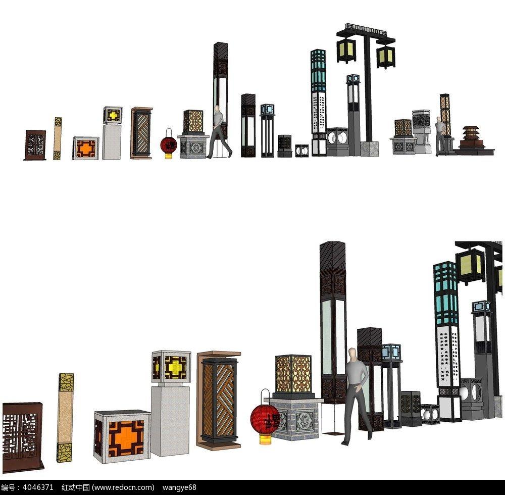 中式灯柱su模型合集