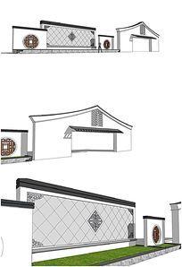 中式古典景墙SU模型