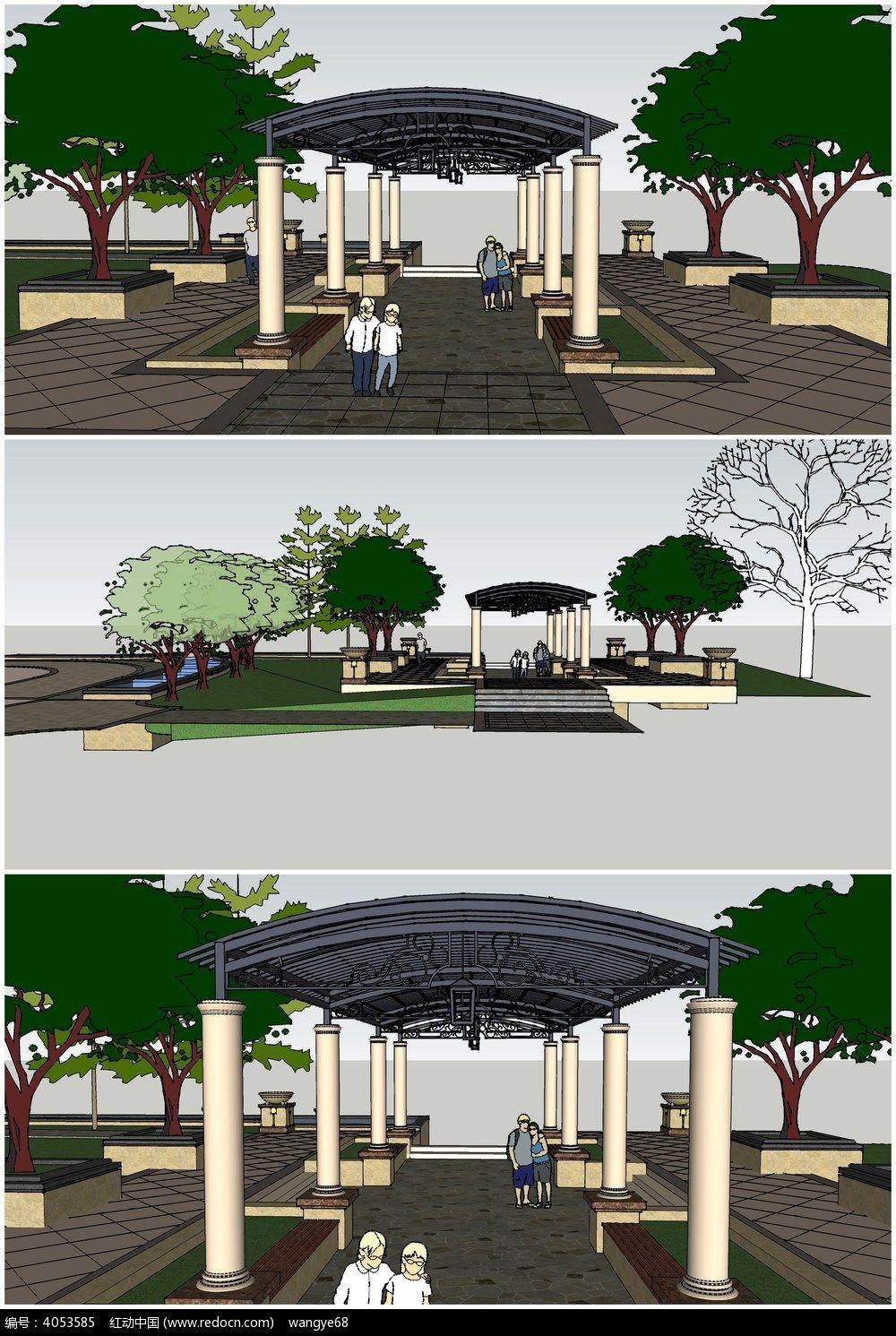 廊架花架 构筑 园林景观小品模型