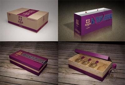 玫瑰白酒包装3D效果图设计图片