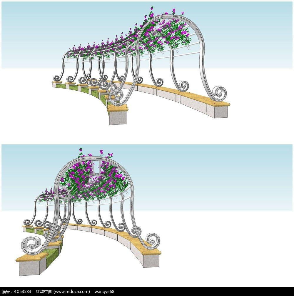 欧式铁艺花架廊架su模型图片