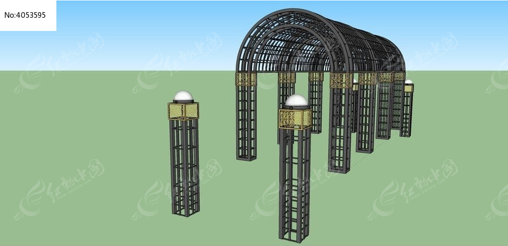 铁艺廊架花架su模型图片