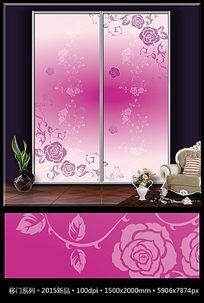 粉色花朵花纹移门装饰画