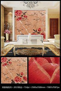 复古玫瑰花纹大理石电视背景墙
