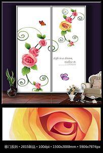 简约玫瑰花纹移门装饰画