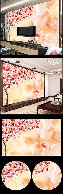 梦幻手绘花朵蝴蝶电视背景墙