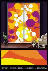 矢量抽象艺术玻璃移门