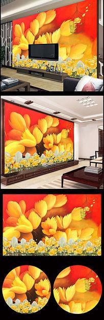 唯美手绘花朵电视背景墙