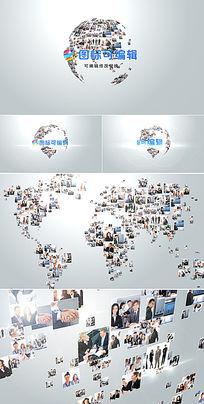 照片汇聚成logo视频演绎ae模板