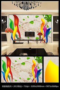 彩色飘带树叶大理石电视背景墙