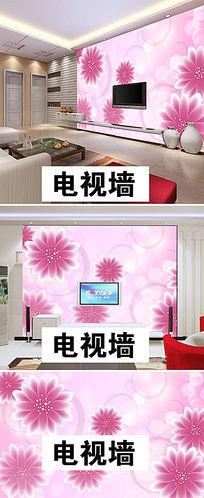 粉色温馨花朵卧室背景墙