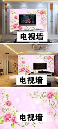 唯美清新花朵电视墙背景