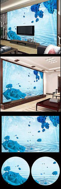 蓝色玫瑰水滴倒影电视背景墙