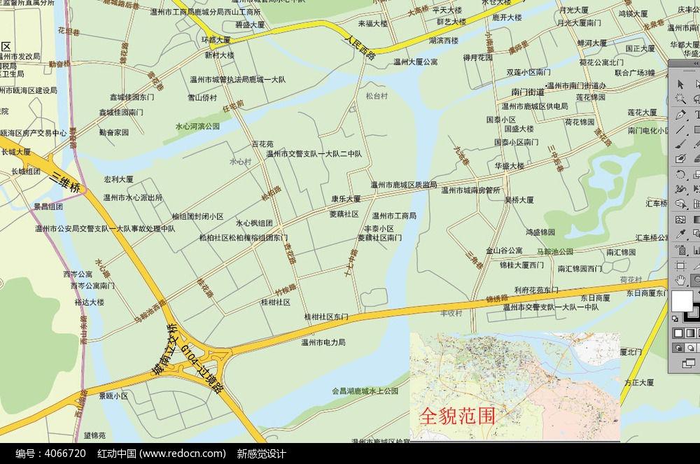温州城区地图模版_海报设计/宣传单/广告牌图片素材