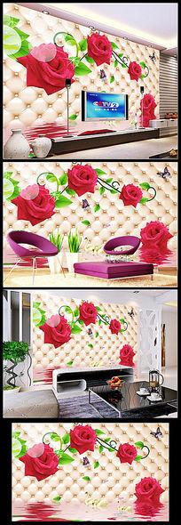 3D客厅玫瑰花电视背景墙