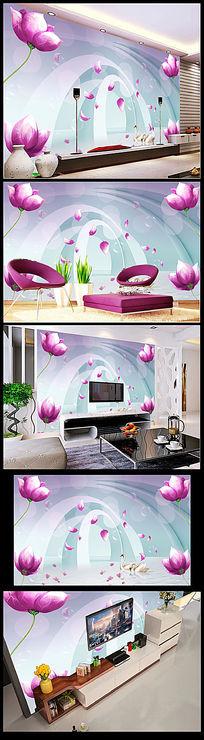3D立体花朵花纹电视背景墙