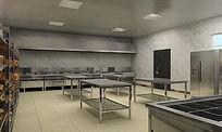 工厂饭店食堂厨房3D模型布置设计