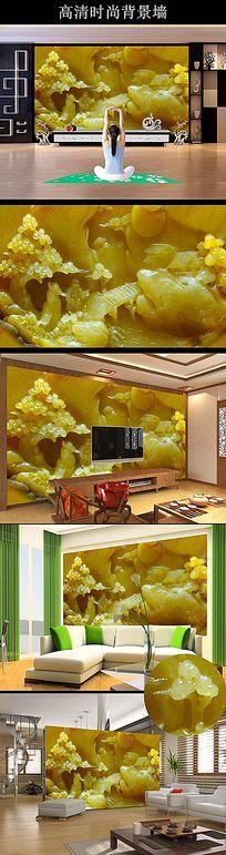 玉雕苍松仙人电视背景墙