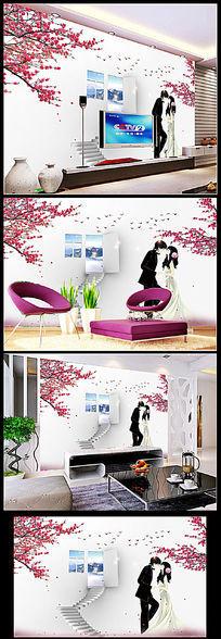 3D浪漫樱花恋人卧室背景墙