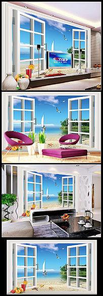 3D立体窗外海景背景墙