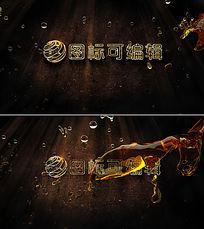 金黄色液体logo开场ae模板