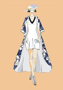 时尚大气青花女装设计稿