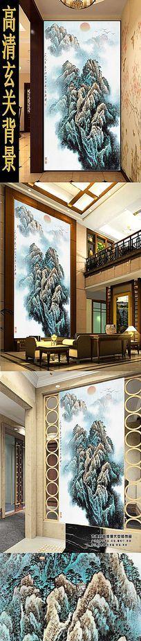 水墨山林风景玄关装饰画