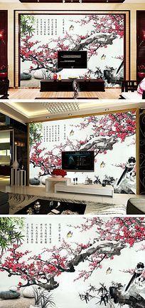 咏梅古典背景墙设计