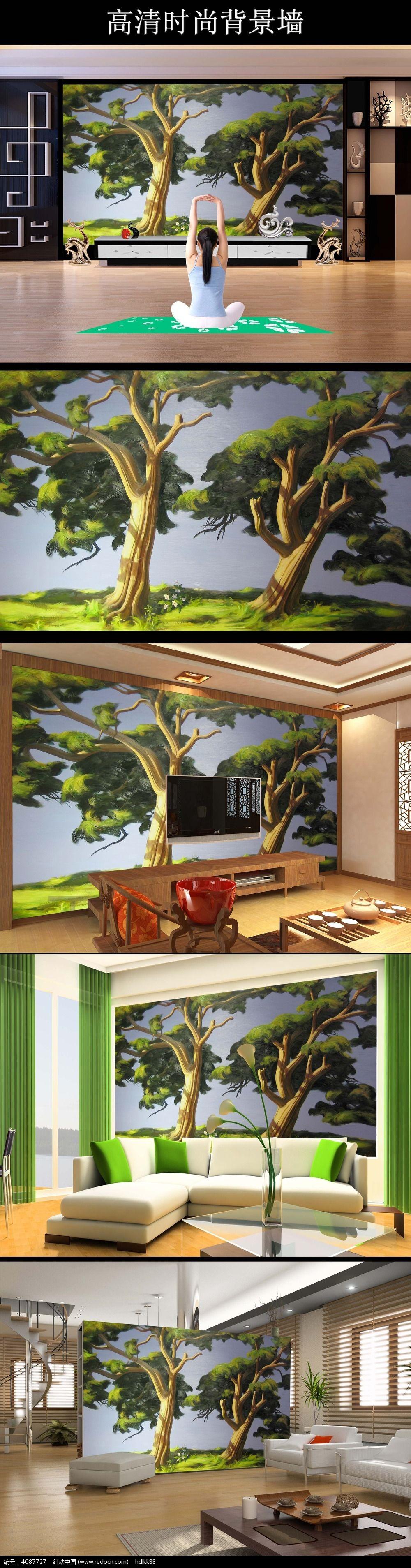 一棵大树油画电视背景墙