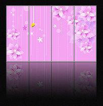 紫色花朵移门背景图案