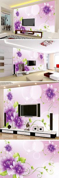 紫色梦幻花束电视背景墙
