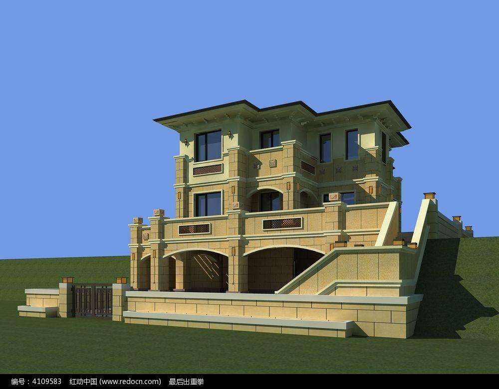 欧式别墅外观模型图片