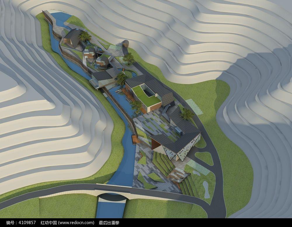 休闲山庄地形3d模型图片