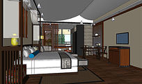 度假酒店客房SU模型设计