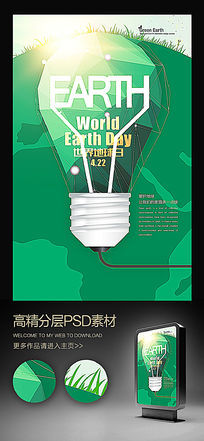 世界地球日灯泡创意招贴广告