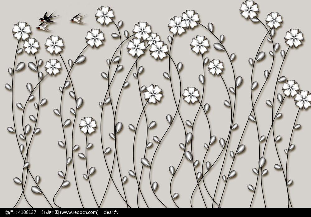 手绘文艺花鸟墙画