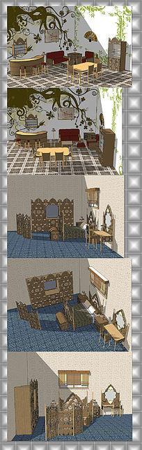 东南亚风格室内家具草图大师模型