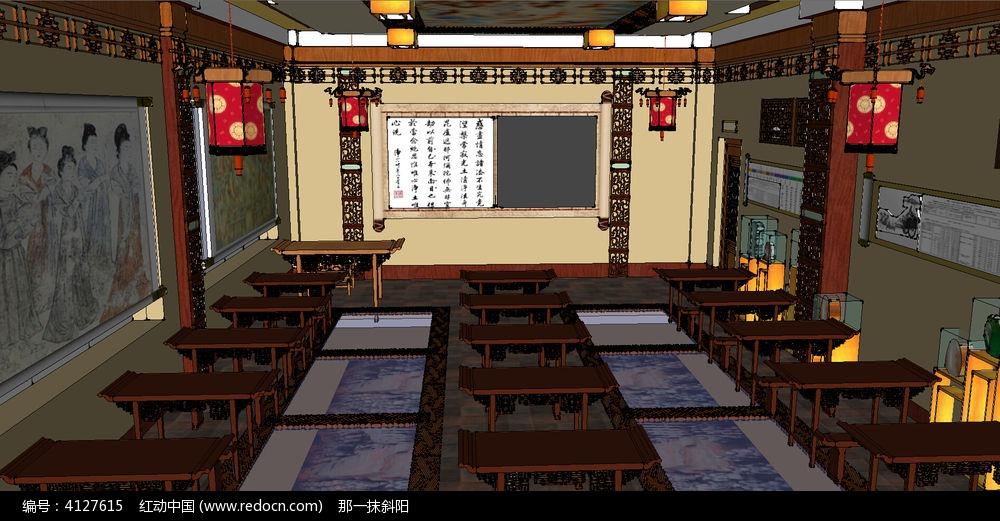 古代书院教室室内su模型图片