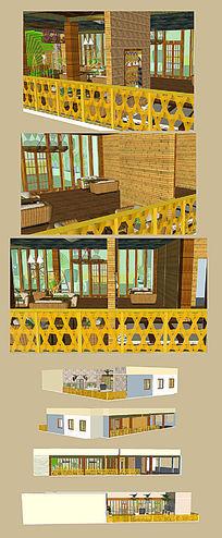 咖啡屋和花园式sketchup草图大师模型设计