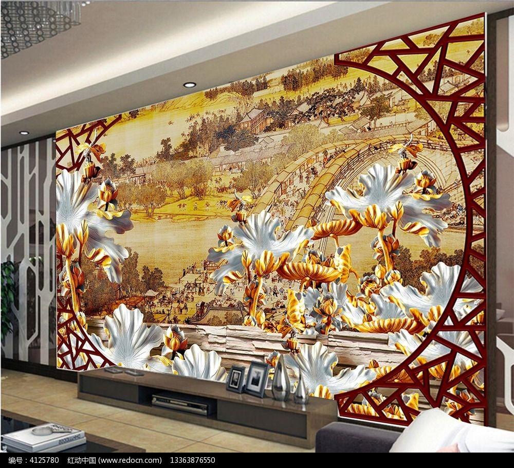 木雕清明上河图电视背景墙