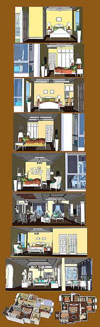 欧式室内装修SU模型设计