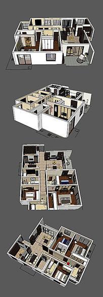 新中式家居装修设计SU模型