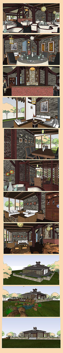 中式茶餐厅室内外整馆草图大师设计SU模型
