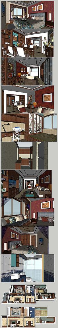 中式家装整理布置SU模型