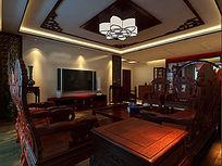 中式客厅3d效果图模型