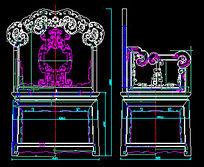 莲花纹扶手椅CAD生产图